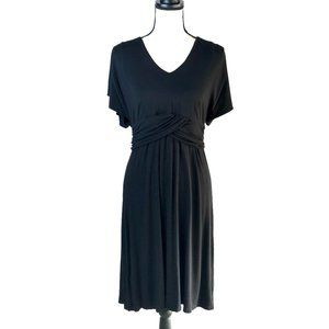 TOMMY BAHAMA BLACK TAMBOUR FLUTTER SLEEVE DRESS